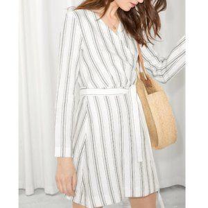 & Other Stories striped linen blend wrap dress